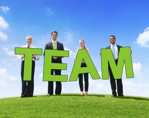 Business People Outdoors Holding Text Team